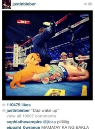 Justin bieber mocks and making fun of pacquiao instagram photo2