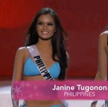 MISS PHILIPPINES JANINE TUGONON FOR miss universe 2012 swimsuit preliminaries