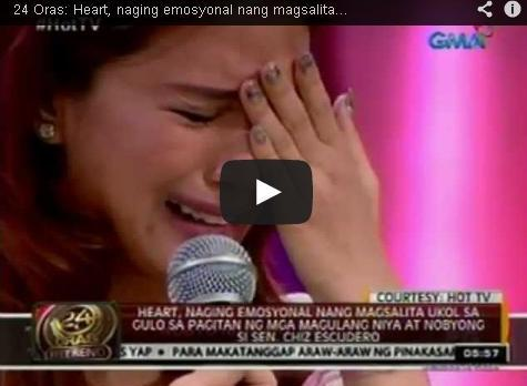 heart evangelista cry opver issue between parents and chiz