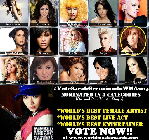 sarah geronimo world music awards 2013 nominated