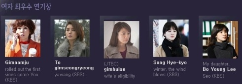 49th baeksang arts awards 2013 nominees TV ACTRESS