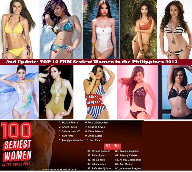 FHM SEXIEST WOMEN IN PHILIPPINES 2013 2ND CURRENT RANKINGS AND UPDATE TOP 10