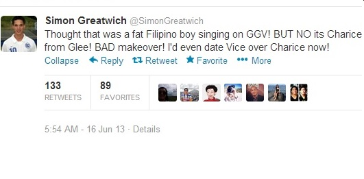simon greatwich harsh comment to charice
